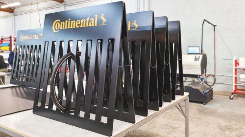 Continental custom wooden tire display