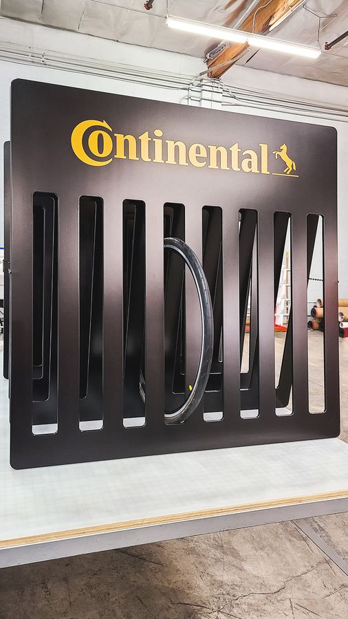Continental wooden tire display