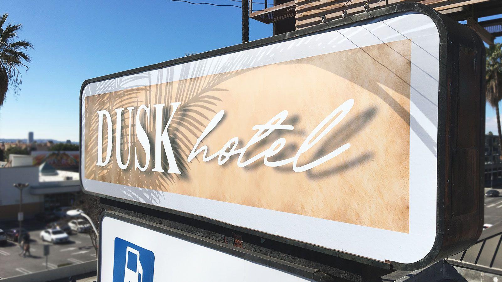 Dusk hotel lightbox sign