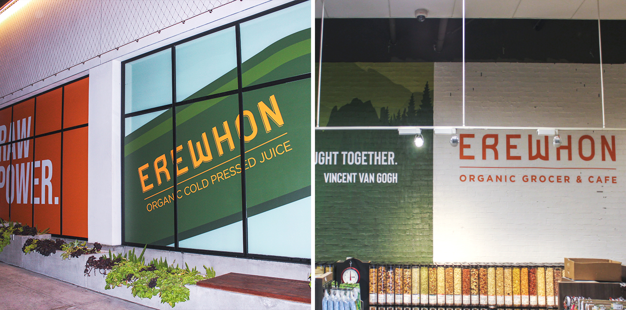 Erewhon eco friendly branding campaign inside the store
