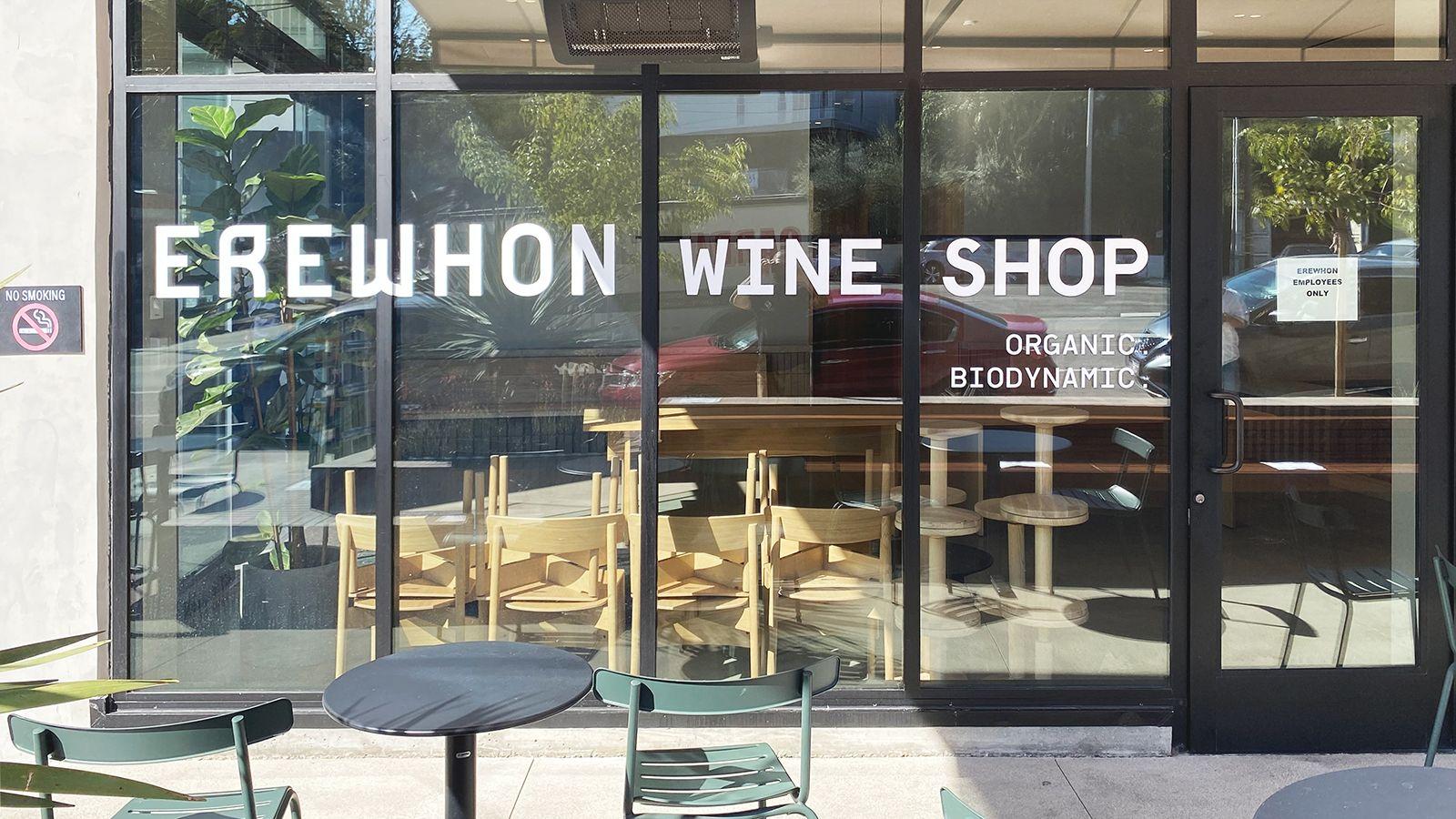 Erewhon storefront vinyl lettering