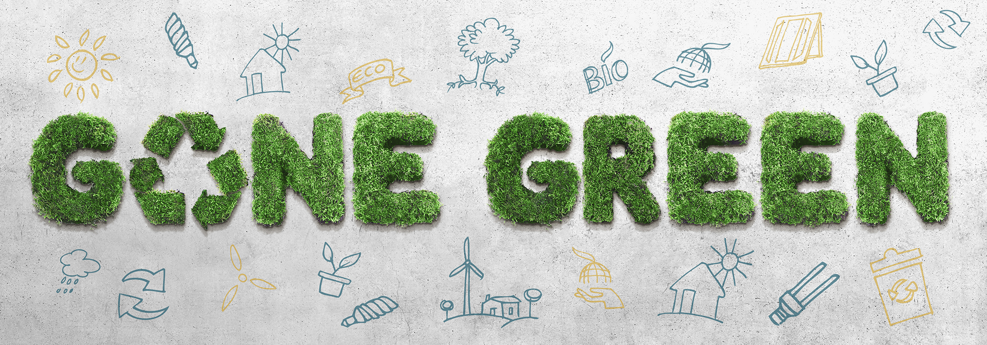 Gone Green marketing examples with eco-friendly icons