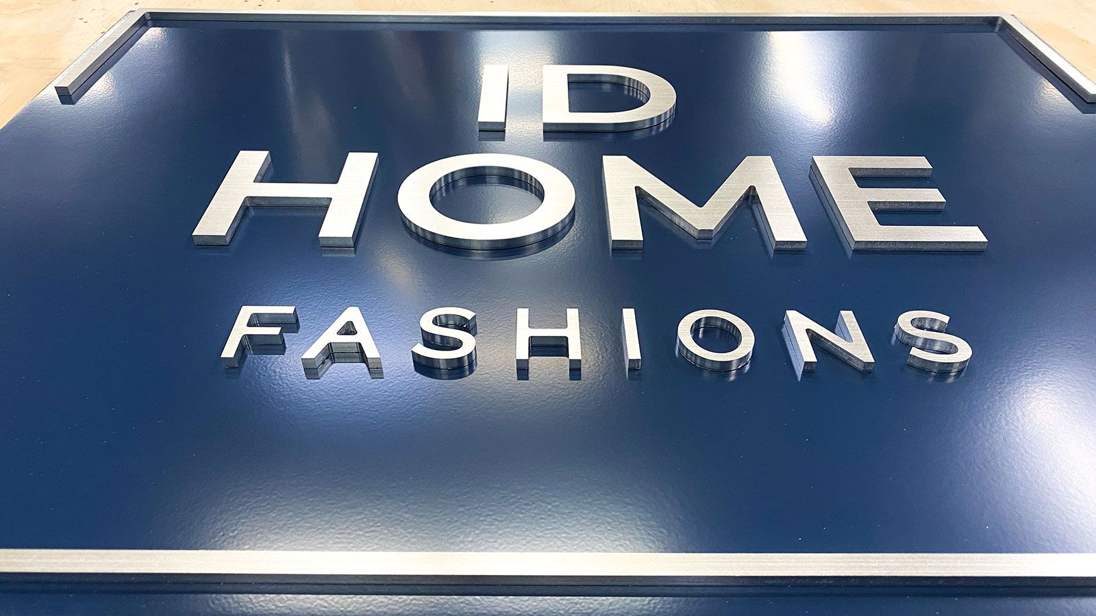 ID home brushed aluminum sign