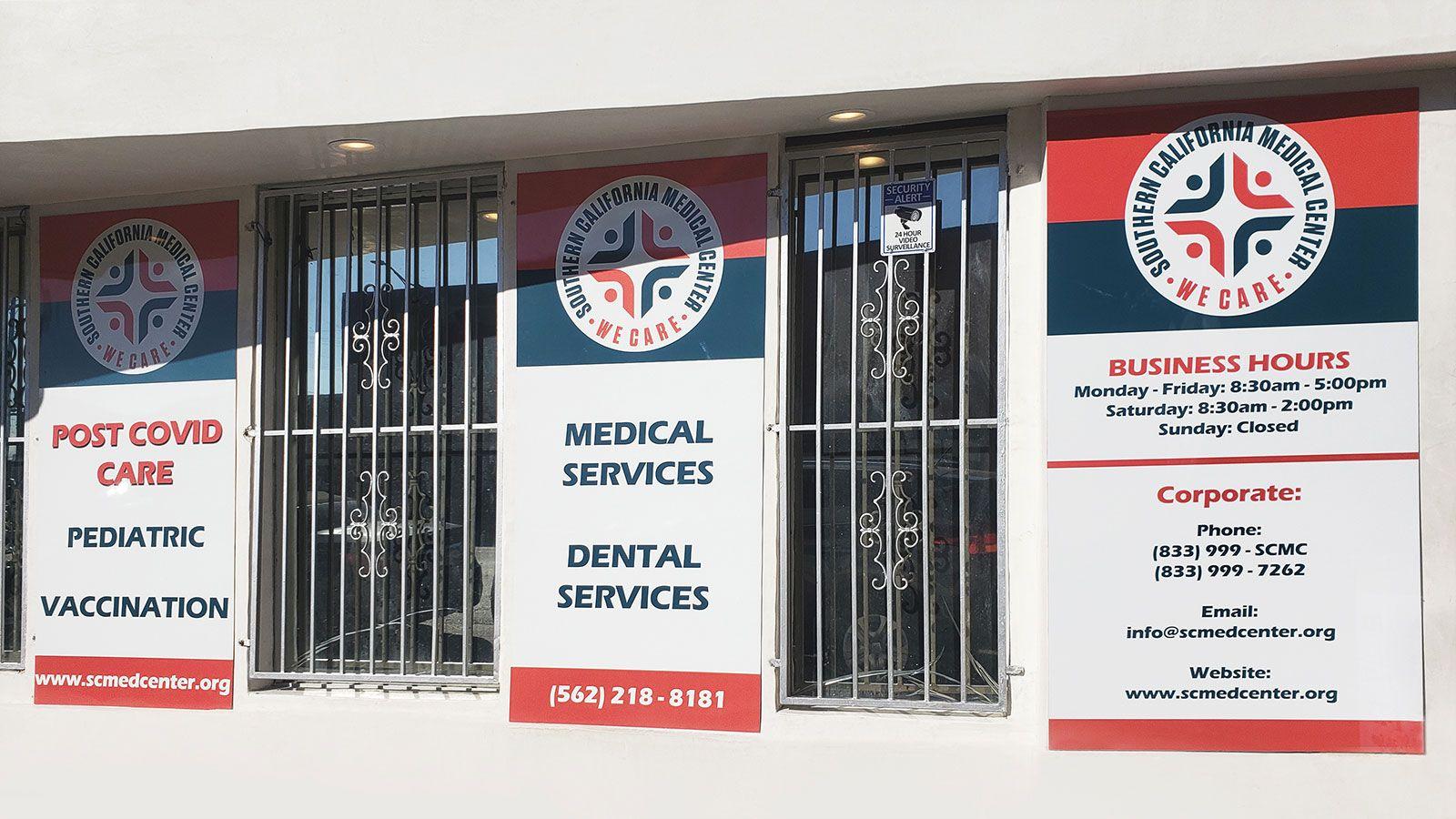 Medical center storefront signs