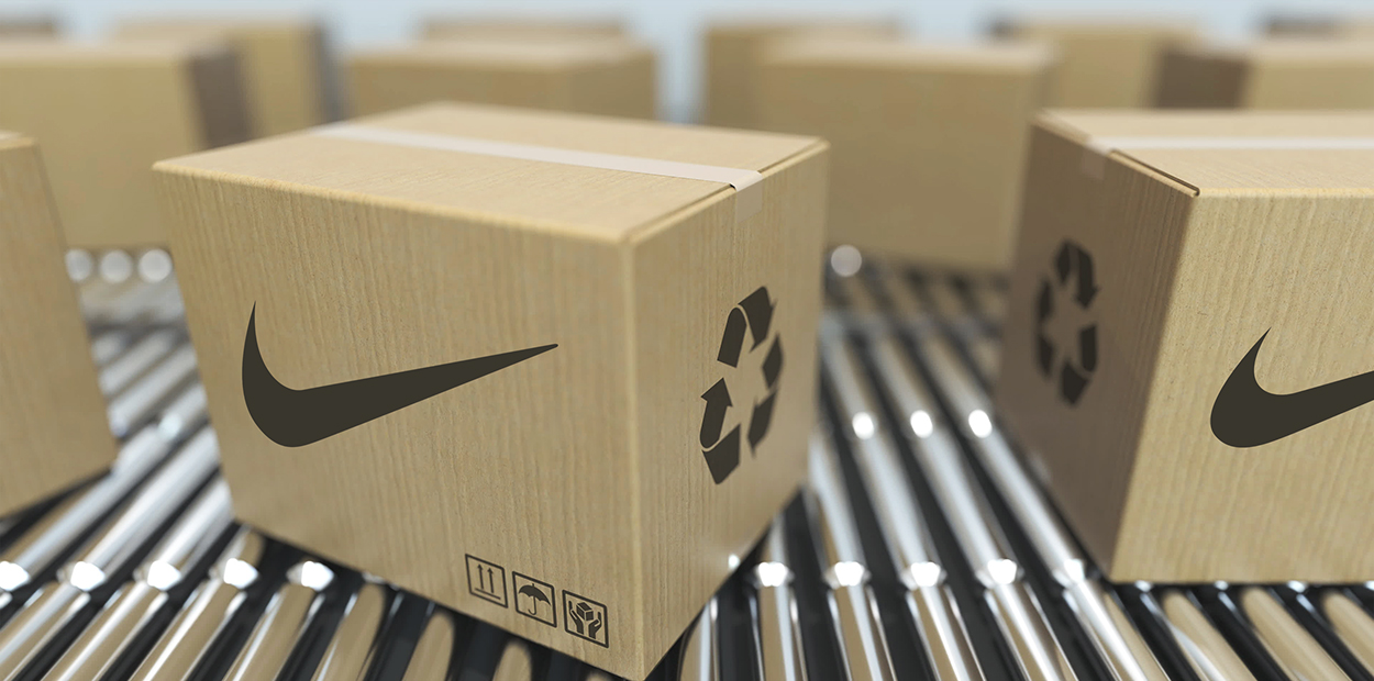 Nike eco-friendly packaging showing 'Move to Zero' eco friendly advertising campaign