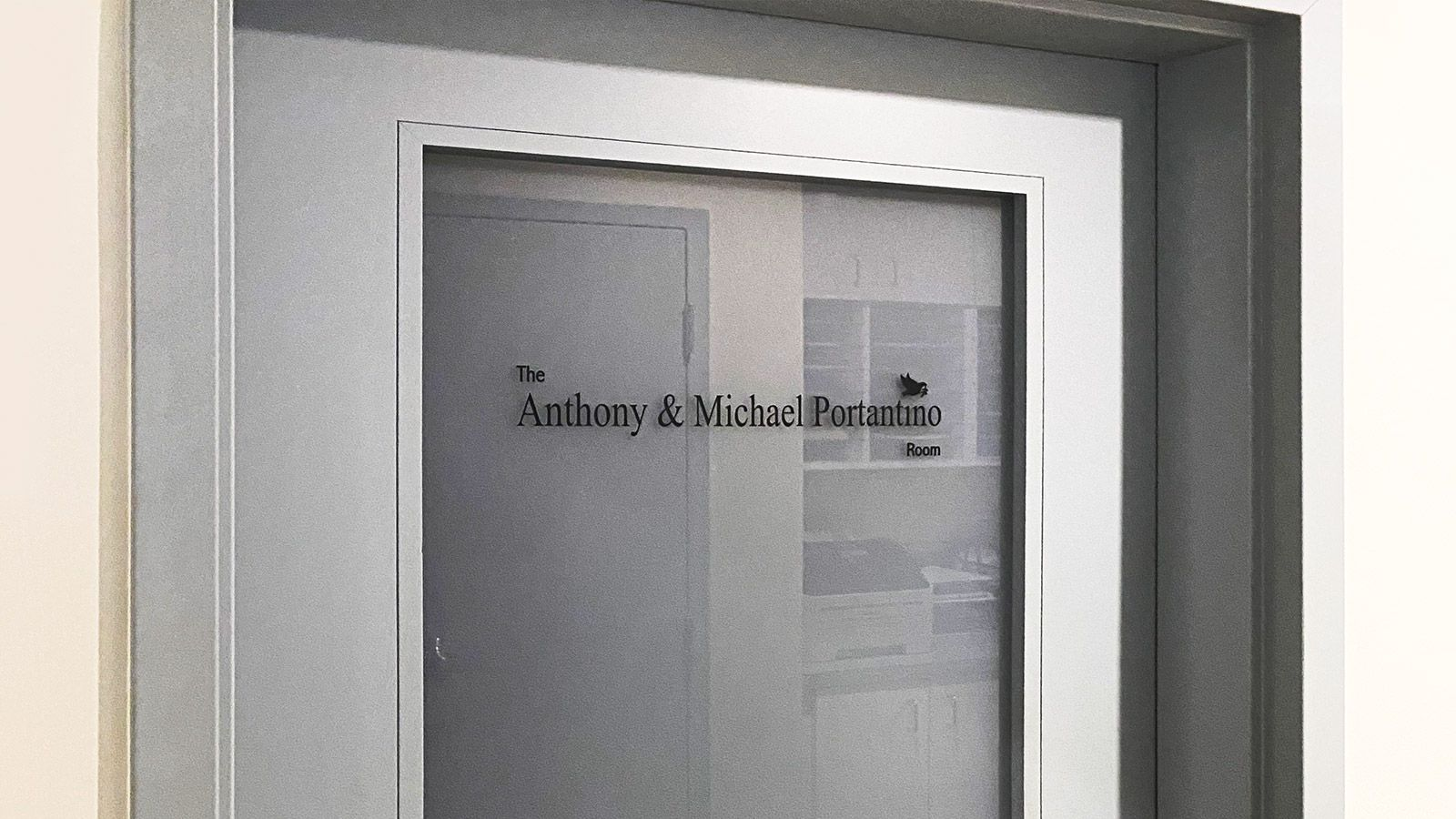 Office door vinyl lettering