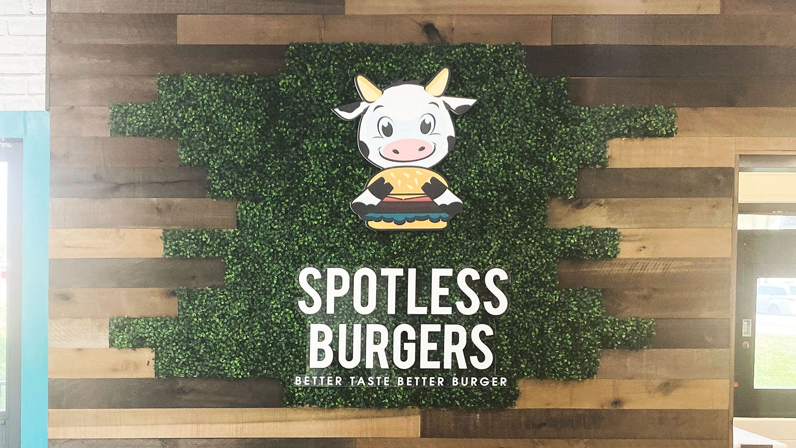 Spotless burgers PVC sign
