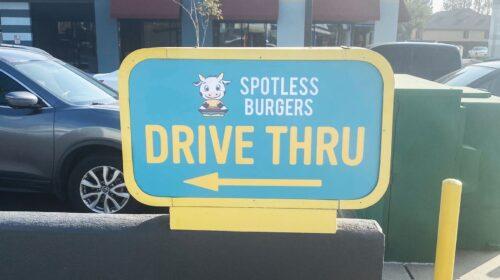 Spotless burgers acrylic sign