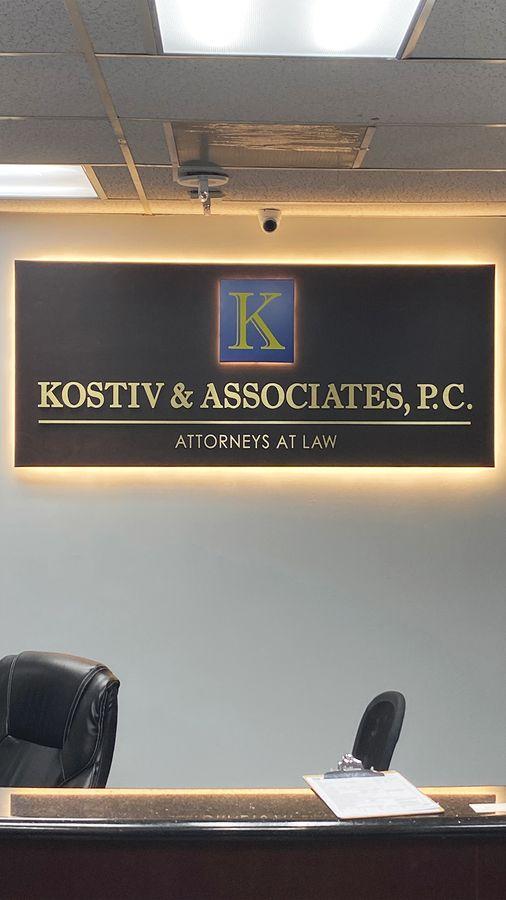 backlit office sign