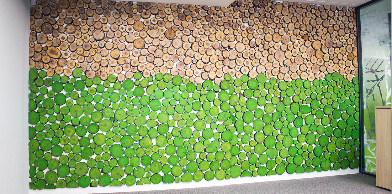 Eco wall example with wooden and green decorative elements for marketing