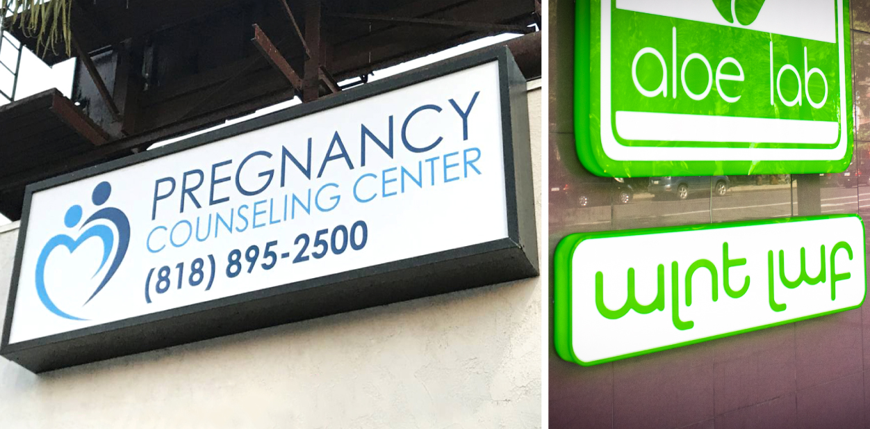 Displaying how material affects light box sign cost with acrylic vs Lexan sign face example