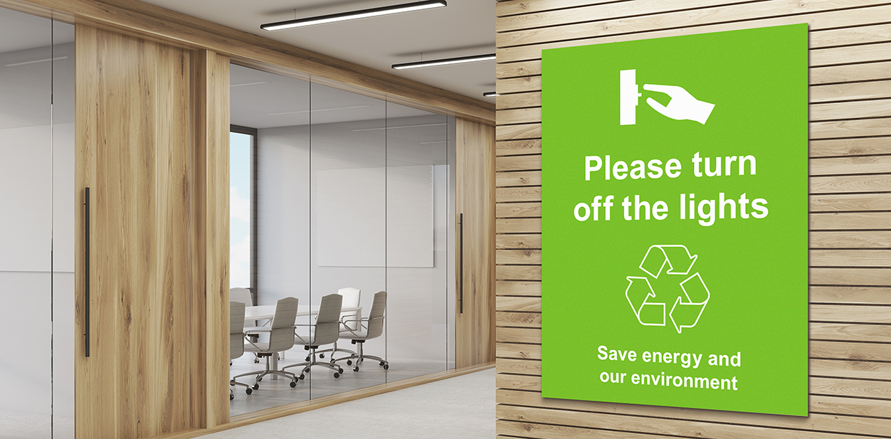 Office sign example displaying an eco friendly procedure rule to follow