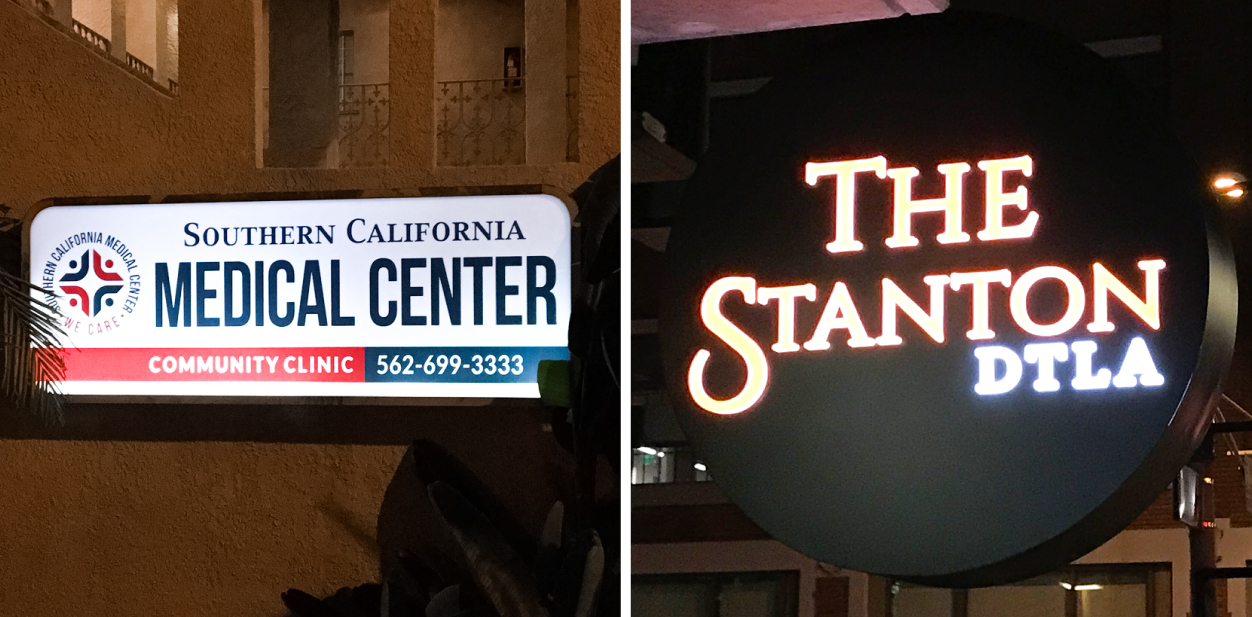 Displaying how illumination affects light box sign prices with full vs partial lighting examples