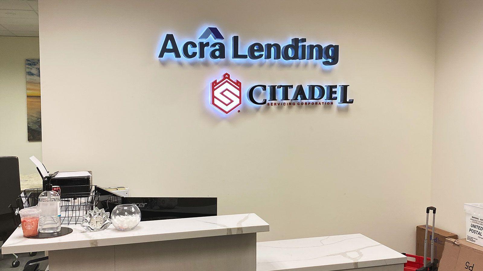 Acra Lending Backlit letters