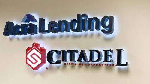 Acra Lending Backlit office sign