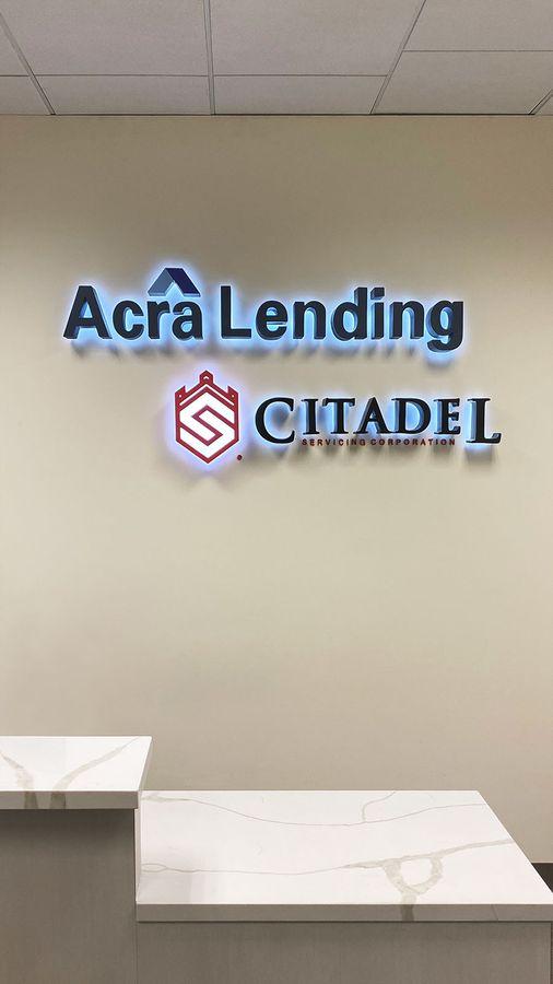 Acra Lending LED office sign