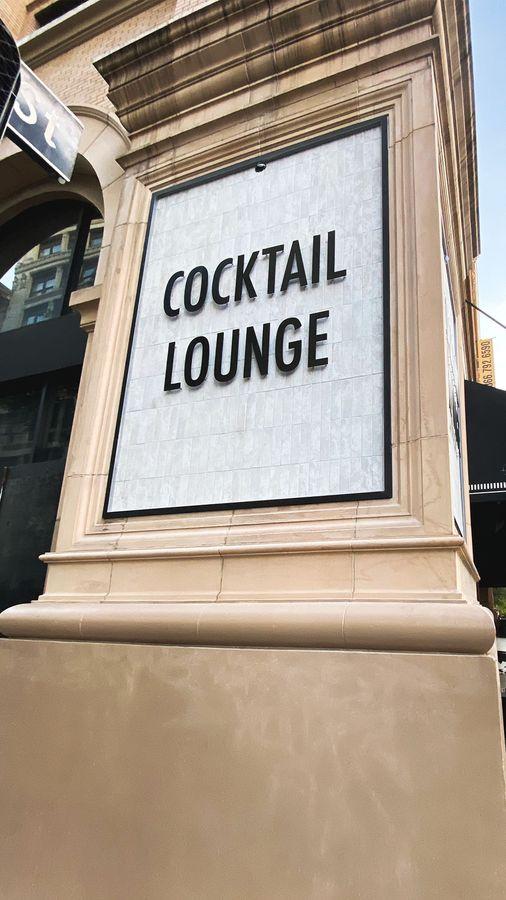 Cocktail Lounge raised 3D letters