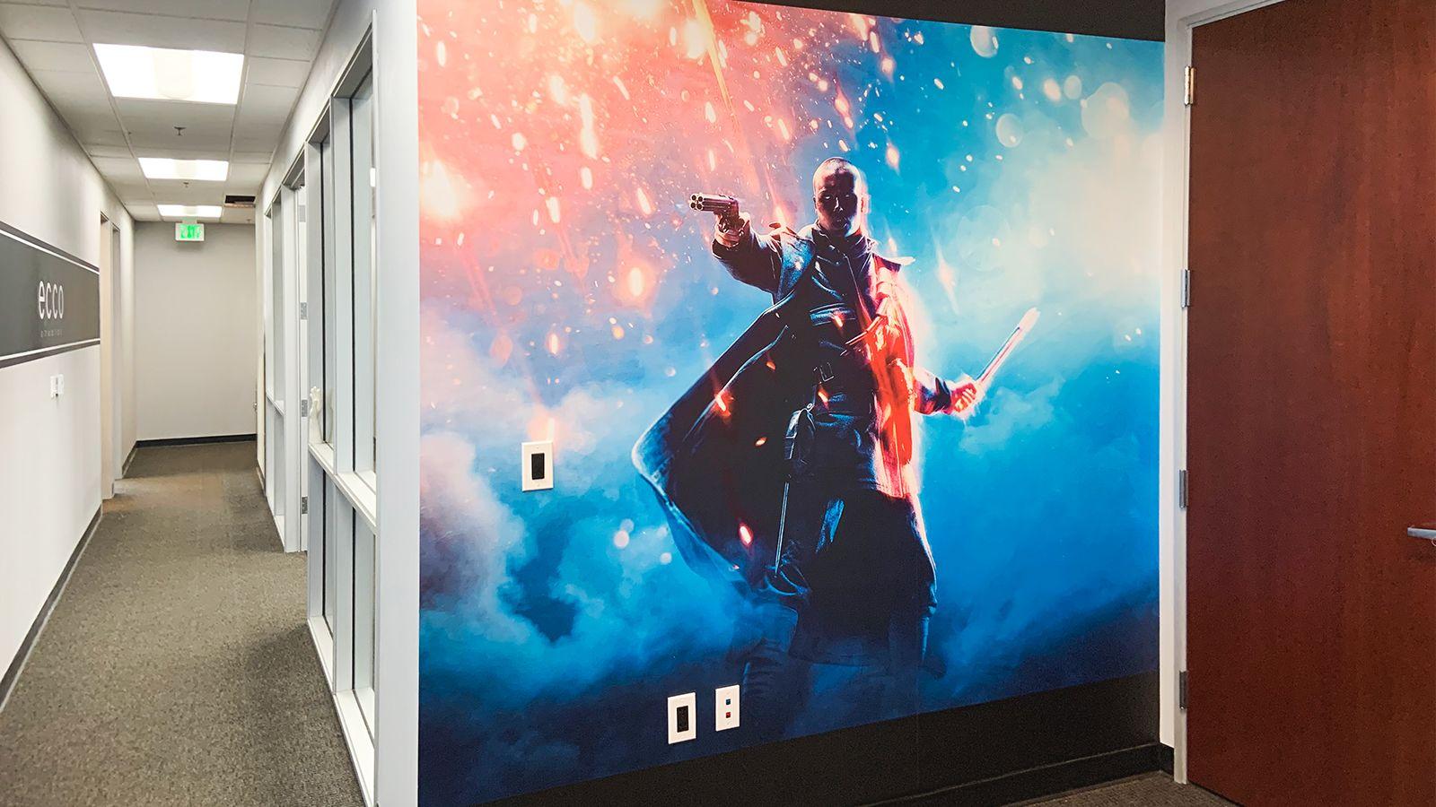 Ecco Studios lobby wall decal