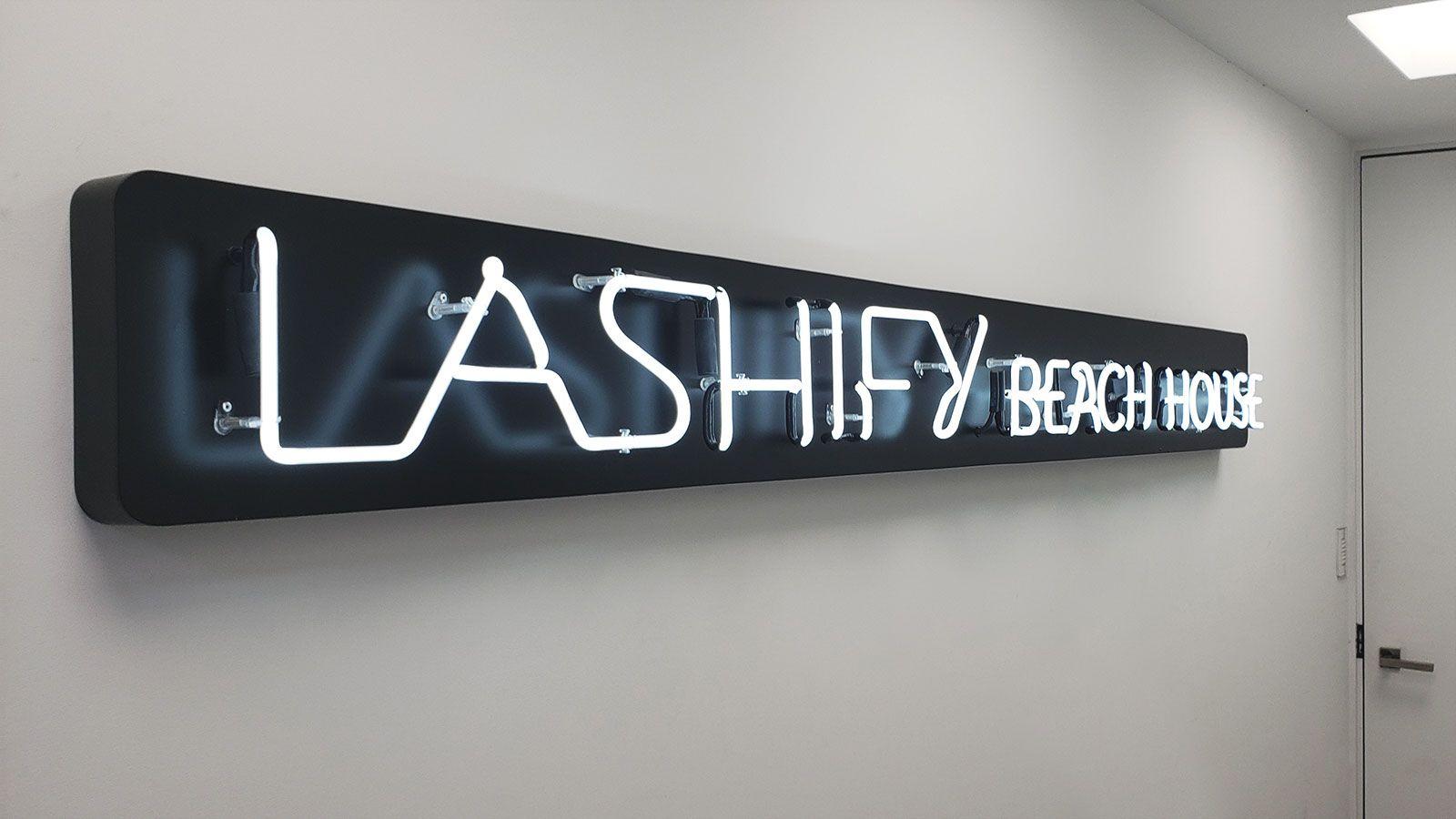 Lashify neon sign