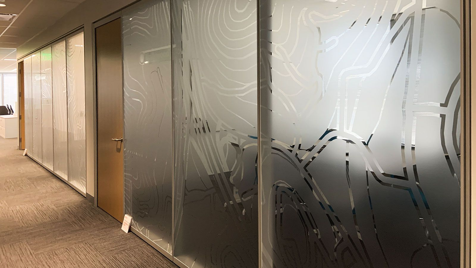 Lobby frosted window decals