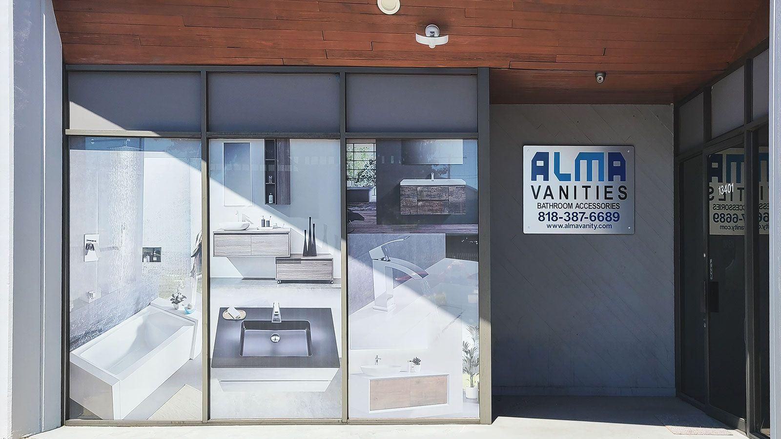 alma vanities store window decals