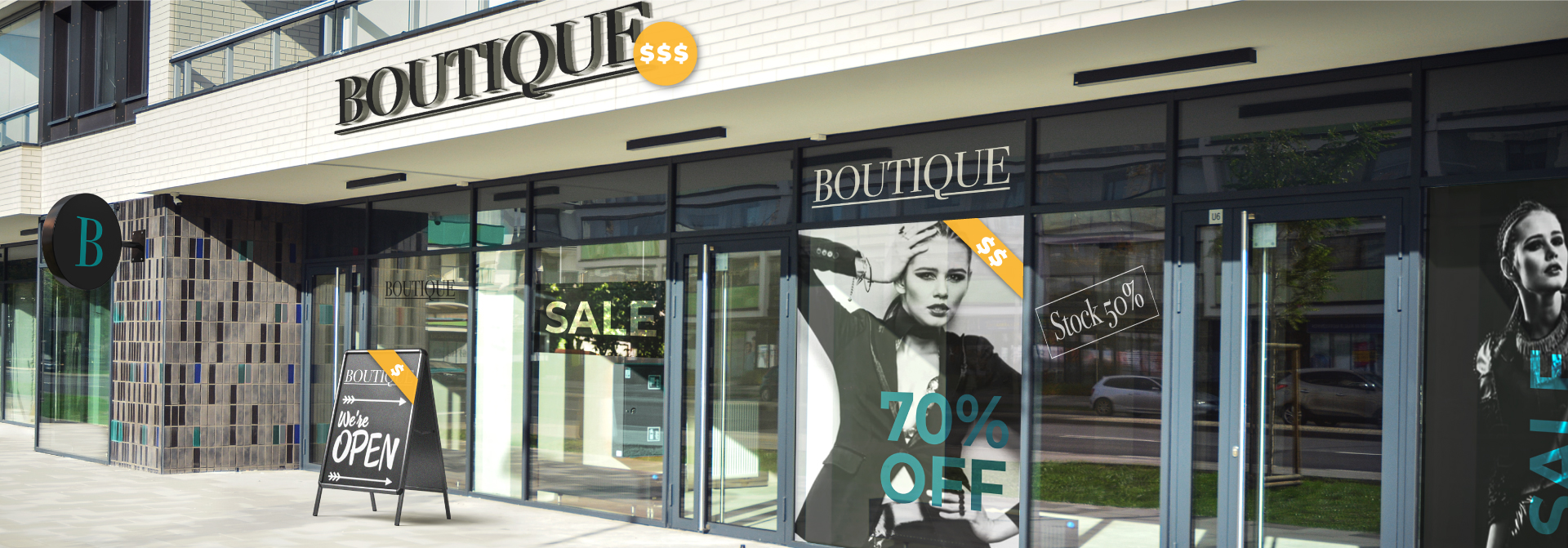 Different storefront sign costs for a boutique