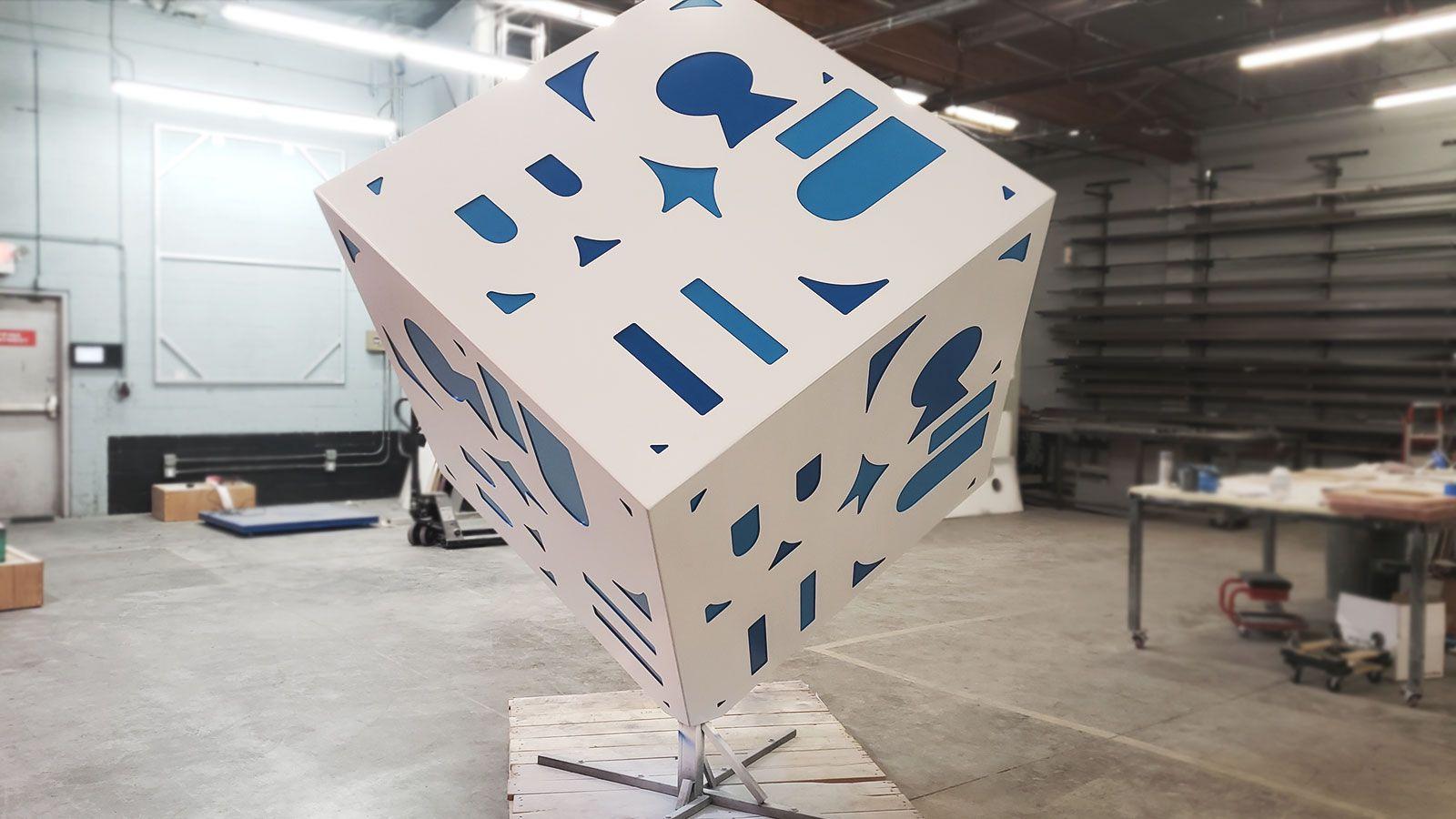 the cube aluminum sign