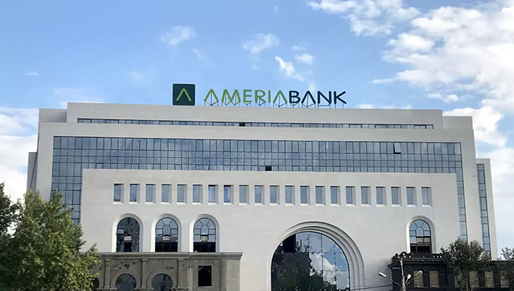 Ameriabank rooftop sign displaying the brand name and logo made of aluminum and acrylic