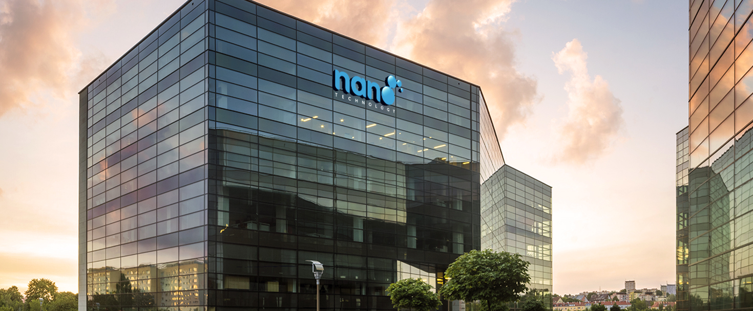Nano Technologies high rise signage displaying the brand name and logo