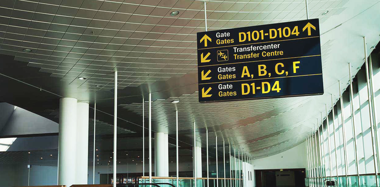 Hanging airport direction sign made of PVC