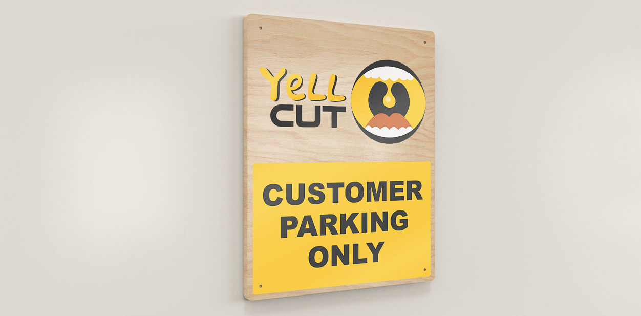 Yell Cut colorful wayfinding signage design for the parking area