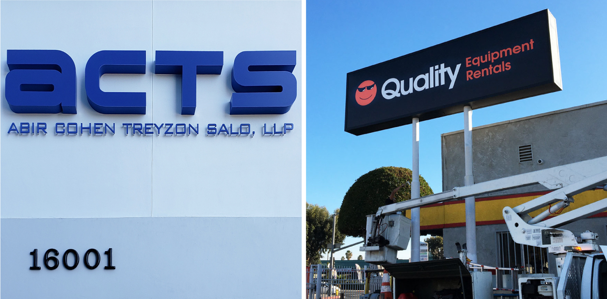 Different commercial branding solutions displayed outdoors