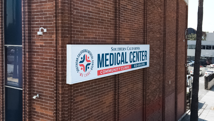 Southern California Medical Center hospital building sign made of aluminum and acrylic