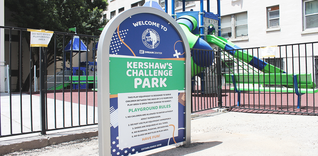 Kershaw's Challenge Park large outdoor directional sign made of aluminum