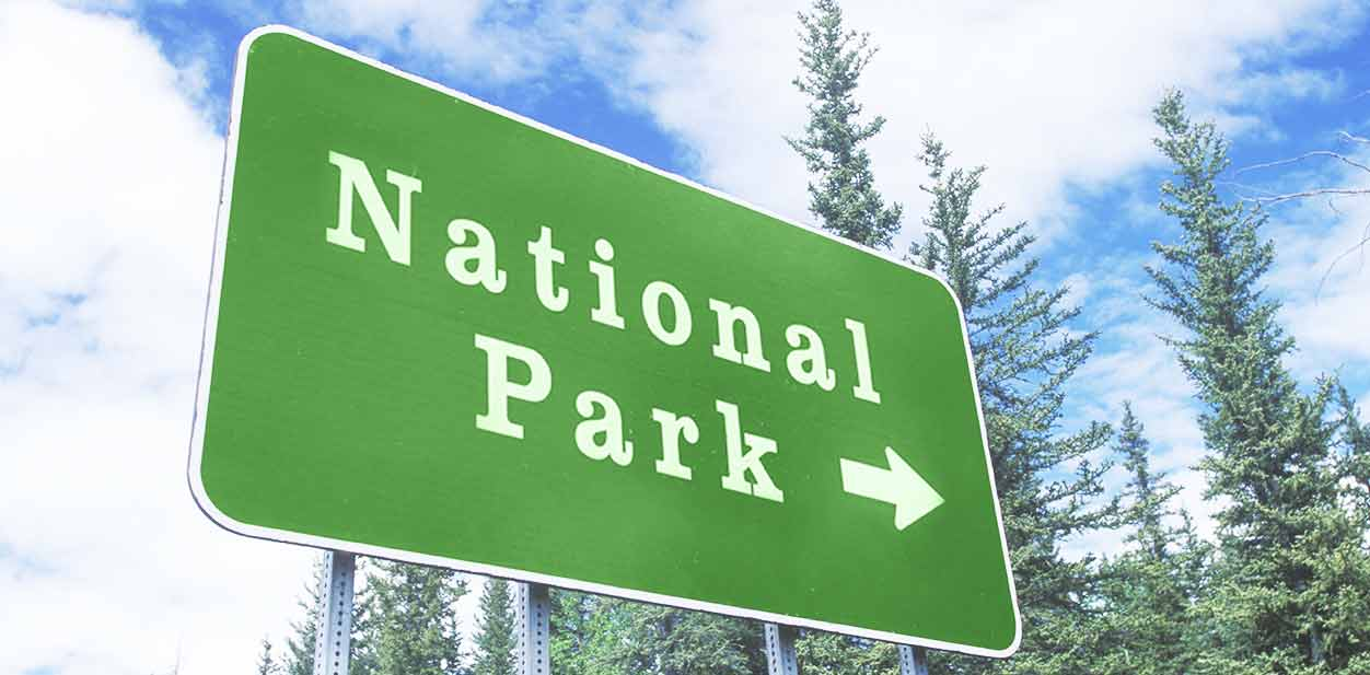 National Park wayfinding sign in green