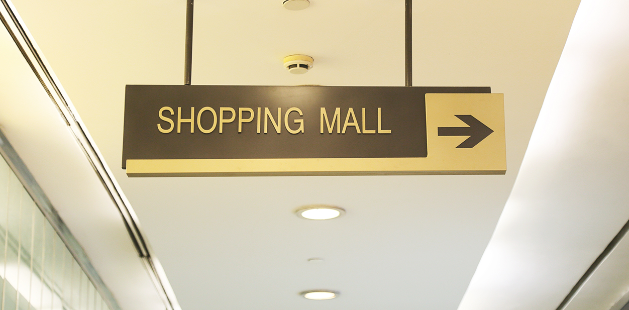 Hanging shopping mall directional signage