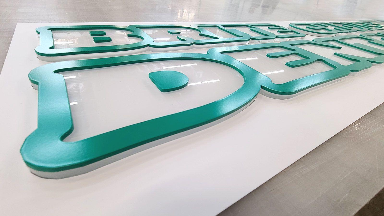 Bold acrylic sign