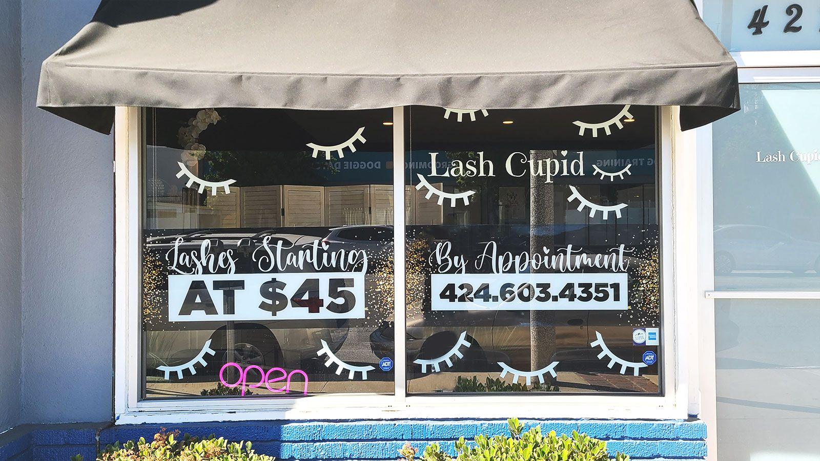 Lash Cupid storefront decals