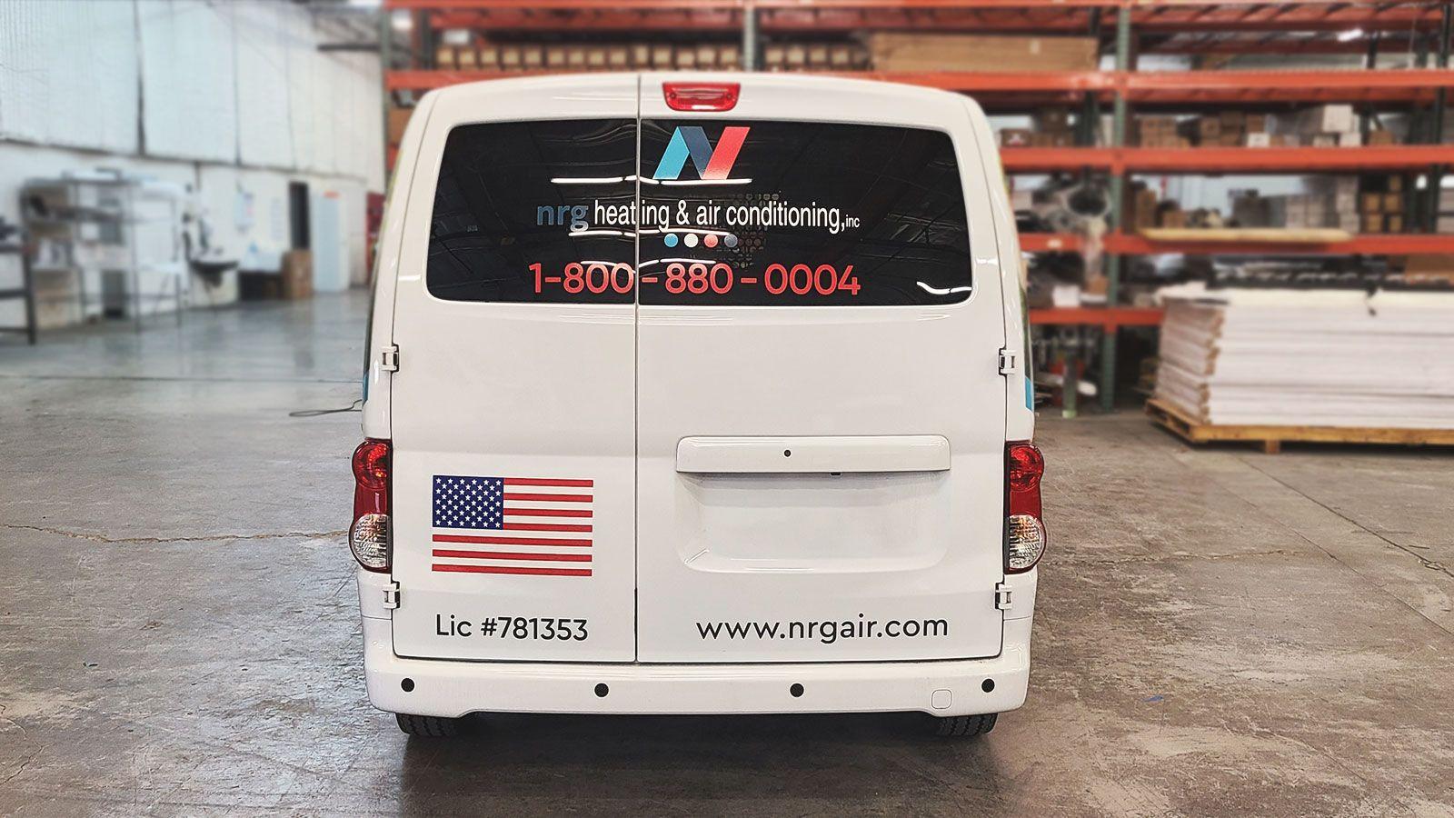 NRG air conditioning car wrap