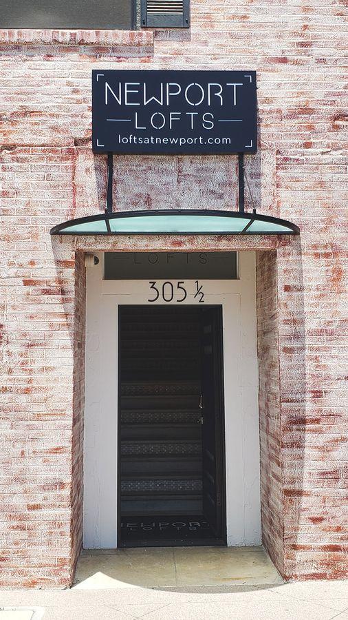 Newport Lofts lightbox sign