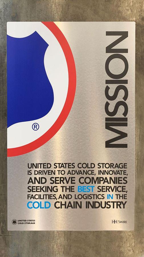 US Cold Storage aluminum sign