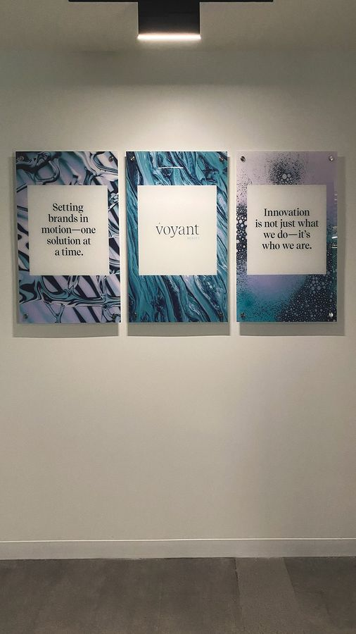 Voyant Beauty interior acrylic signs