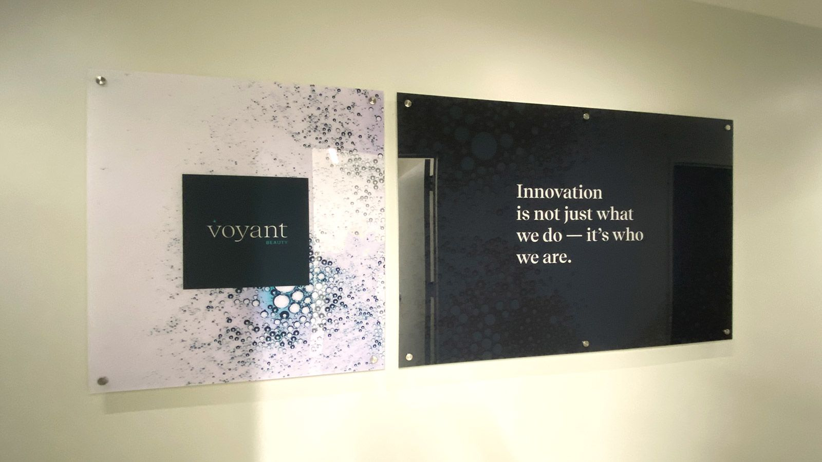 Voyant Beauty lobby signs