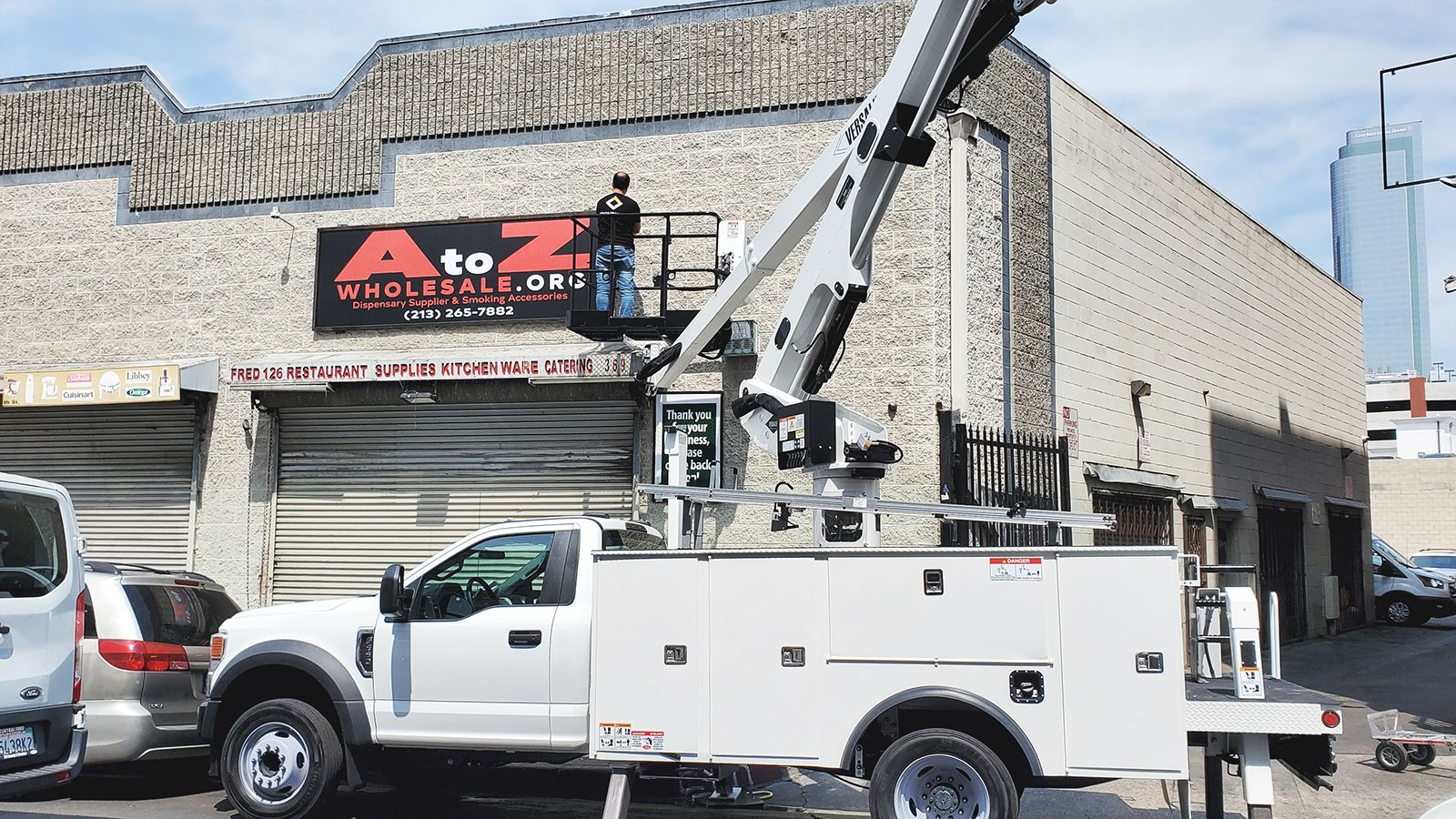 high rise sign installation