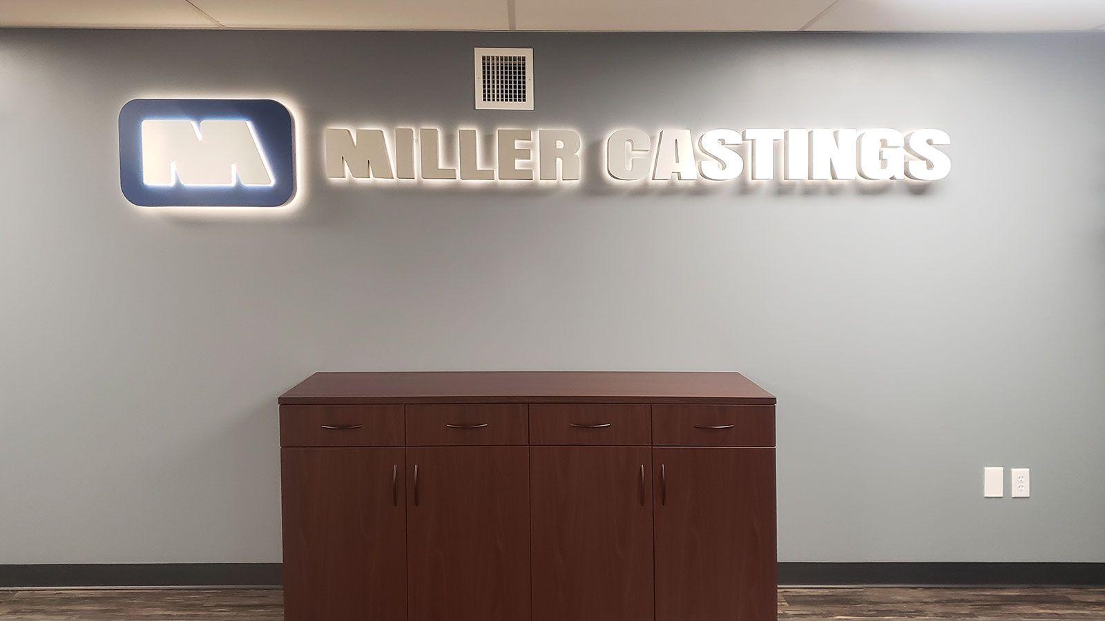 Miller castings backlit sign