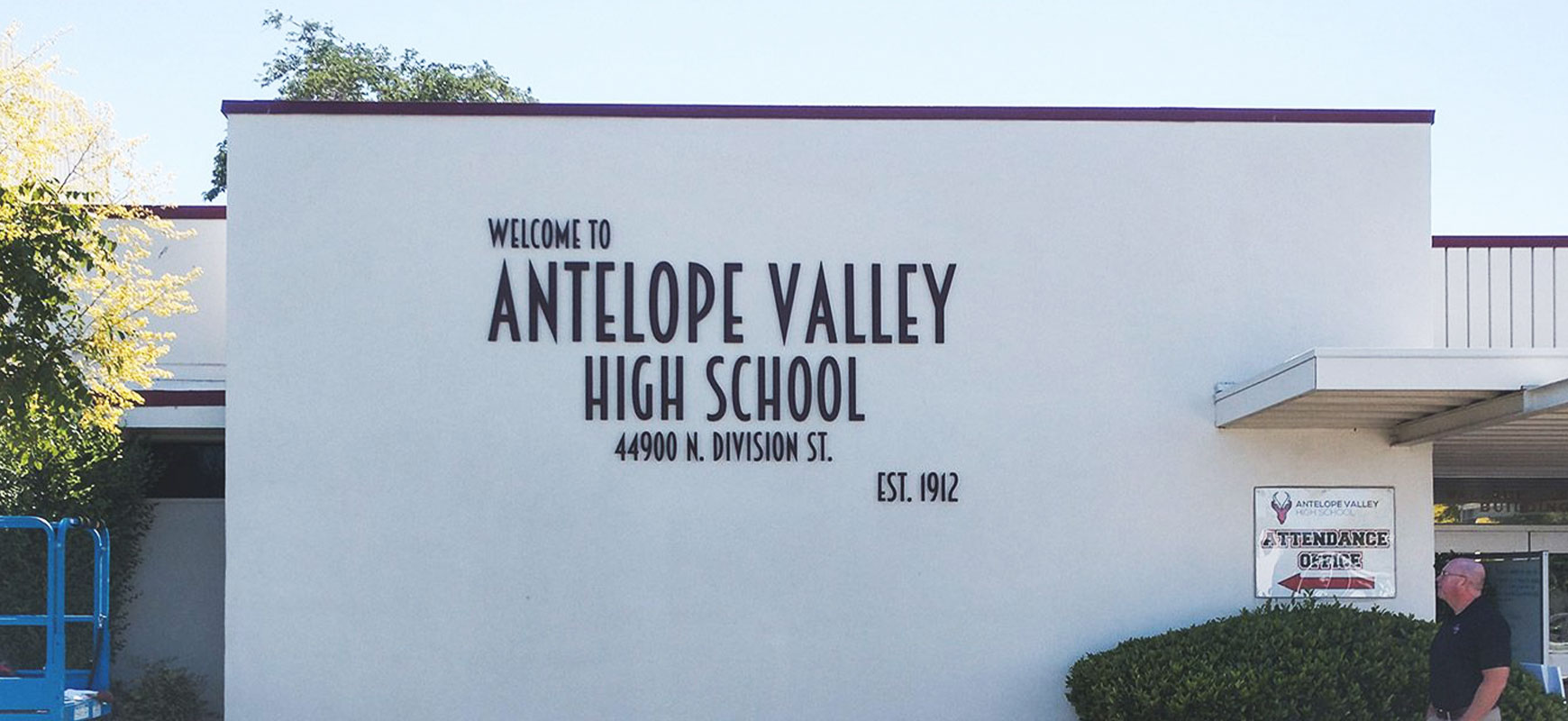 Antelope Valley High School exterior sign with black 3d letters made of brushed aluminum