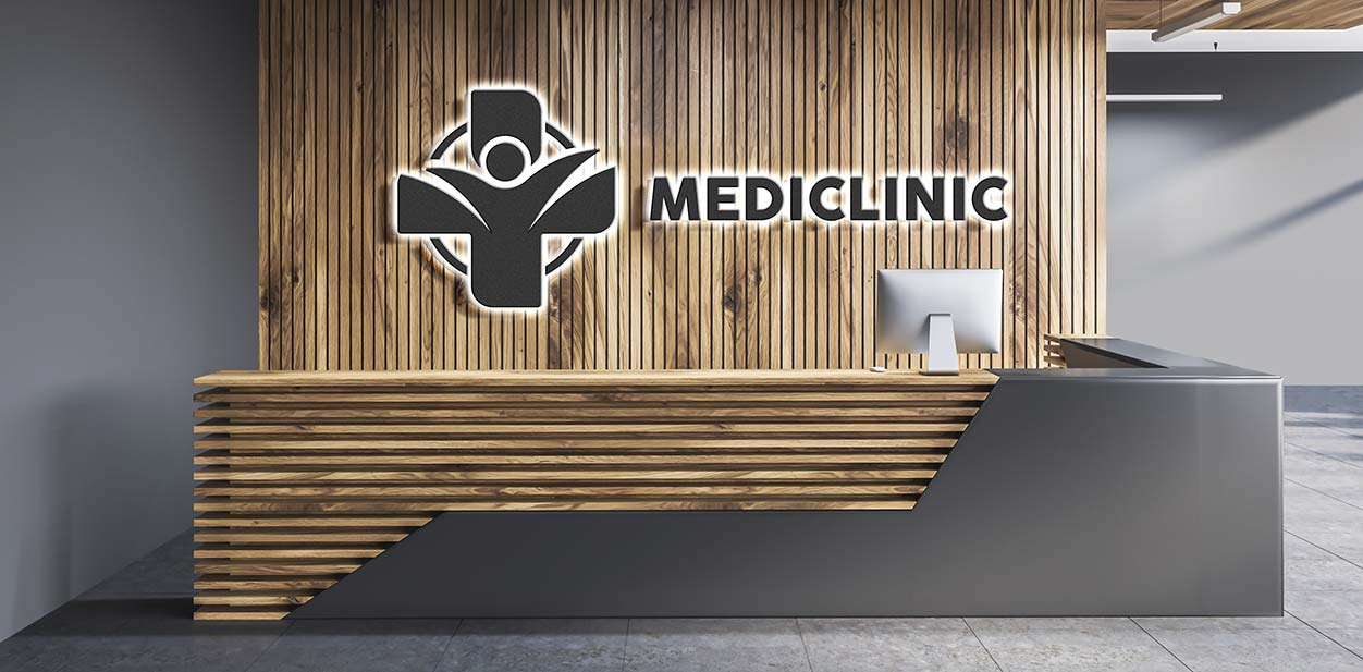Branded medical office reception design idea with wooden structures