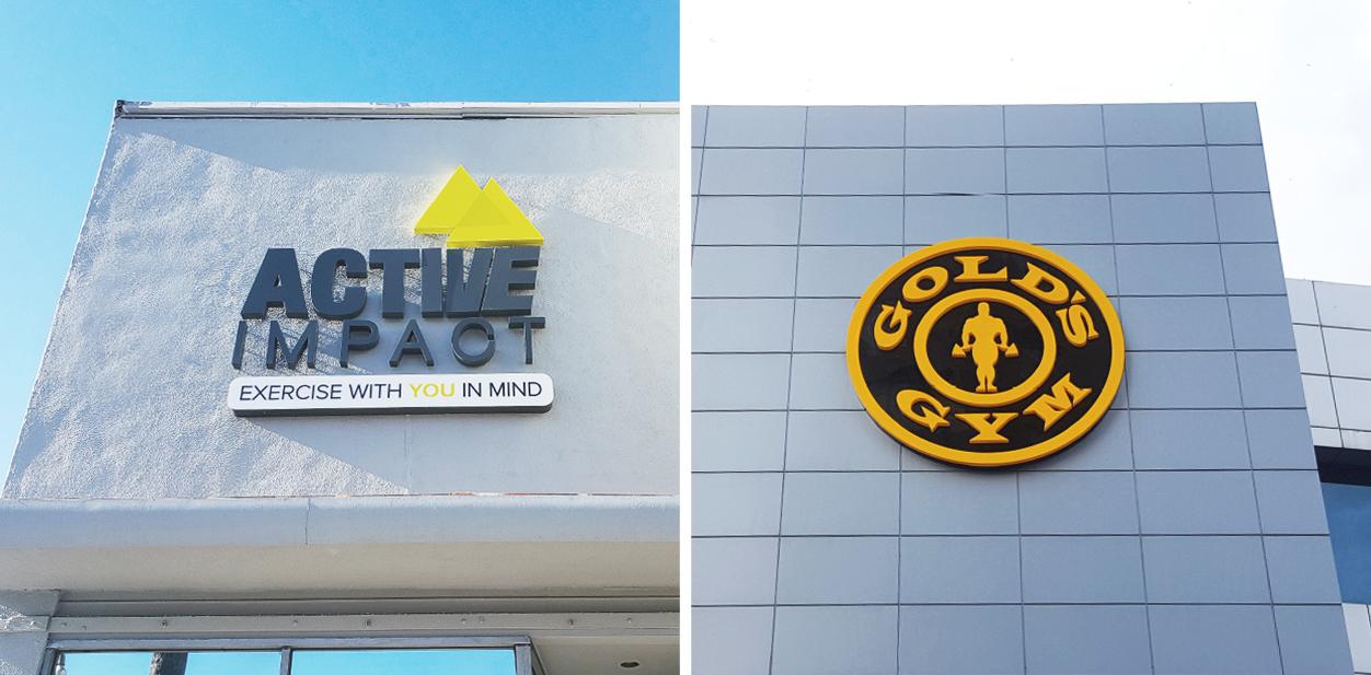 Branding gym signs displaying brands' names and logos