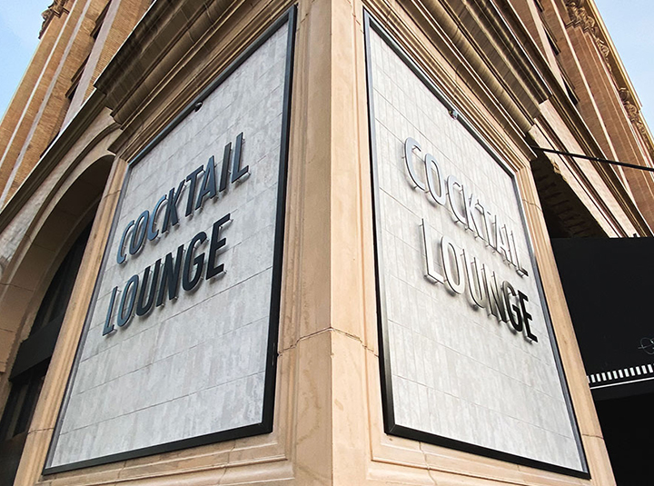 Cocktail Lounge architectural building signage with brand name 3d letters made of aluminum