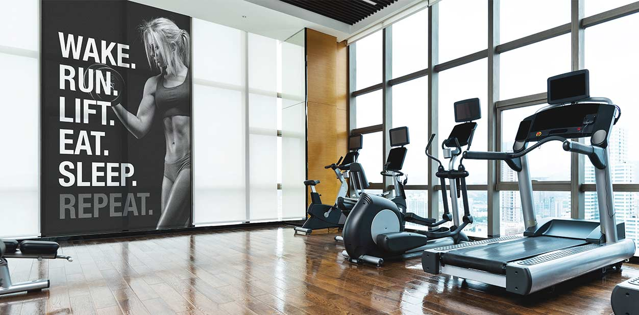 Contemporary gym design in black and white